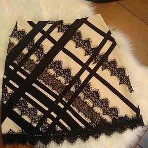 Nanette Lepore ivory and black eyelash lace skirt